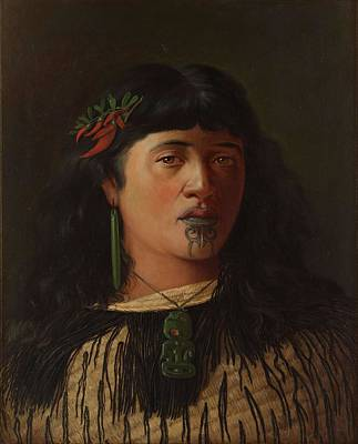 Painting - Portrait Of A Young Maori Woman With Moko By Louis John Steele 1891 by Celestial Images