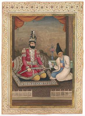 Painting - Portrait Of Muhammad Shah Qajar And His Vizier Haj Mirza Aghasi  Second Quarter 19th Century by Celestial Images