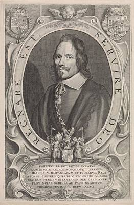 Painting - Portrait Of The Diplomat Philippe Le Roy  Paul Pontius  After Anselm Van Hulle  1648 by Celestial Images