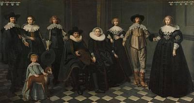 Painting - Portrait Of The Family Of Dirck Bas Jacobsz, Burgomaster Of Amsterdam Dirck Dircksz Van Santvoort  by Celestial Images