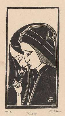 Painting - Portret Van Dante Alighieri En Beatrice Portinari  Bernard Essers  1922 by Celestial Images