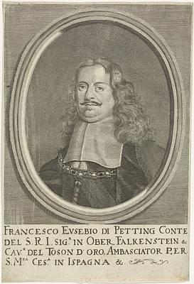 Painting - Portret Van Francesco Eusebio Van Pettingen Johann Friedrich Leonard  1643  1680 B by Celestial Images