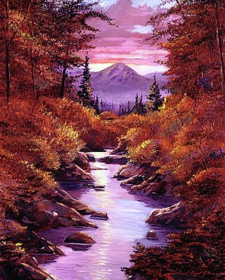 Painting - Quiet Autumn Stream by David Lloyd Glover