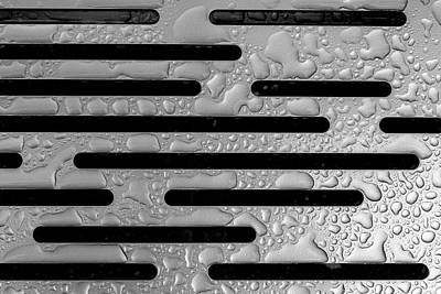 Photograph - Raindrops On Metal Bench - Detail by Robert Ullmann