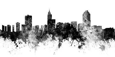 Digital Art - Raleigh North Carolina Skyline Panoramic by Michael Tompsett