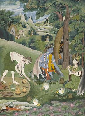 Sita Rama Painting - Rama  Lakshmana  And Sita Cooking And Eating In The Wilderness  by Anonymous