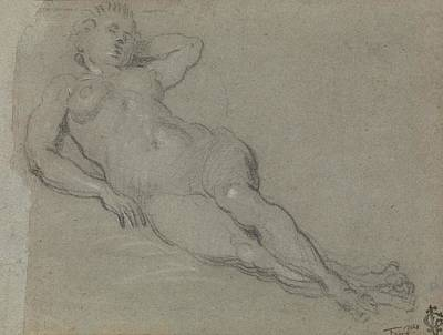 Drawing - Reclining Female Nude by Domenico Tintoretto