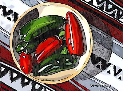 Digital Art - Red And Green Peppers by Laura Forde