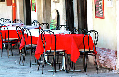 Photograph - Red Tablecloth In Venice by John Rizzuto