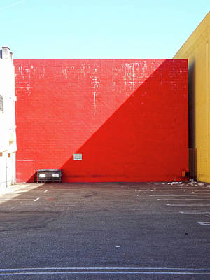 Photograph - Red Wall And Bin by Hold Still Photography