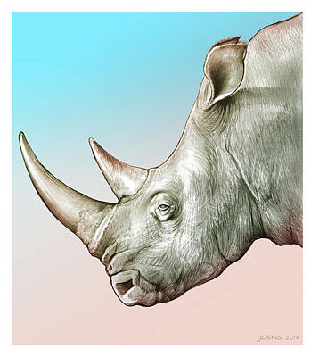 States As License Plates - Rhino by Greg Joens