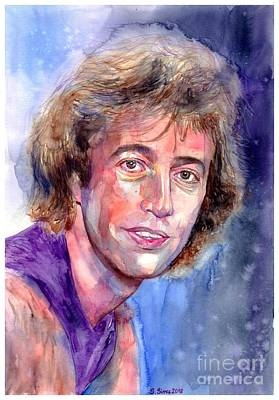Robin Wall Art - Painting - Robin Gibb Portrait by Suzann's Art