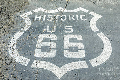 Photograph - Route 66 Street Sign by Benny Marty