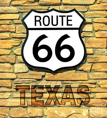 Photograph - Route 66 Texas Sign by Benny Marty