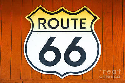 Photograph - Route 66 Wooden Background by Benny Marty