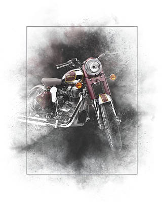 Mixed Media - Royal Enfield Classic 500 Painting by Smart Aviation
