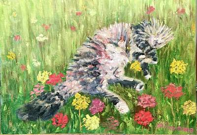 Painting - Rudi in the Flowers by Bonnie Wilber