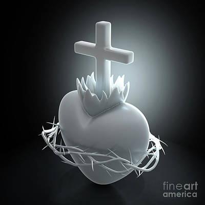 Digital Art - Sacred Heart of Jesus Marble by Allan Swart