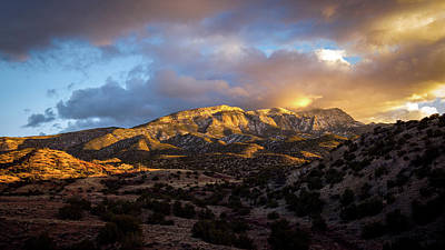 Photograph - Sandia Mountains sunset by Howard Holley