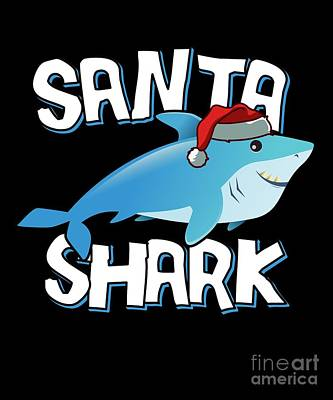 Digital Art - Santa Shark by Flippin Sweet Gear