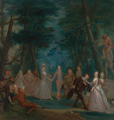 Painting - Scene In A Park, With Figures From The Commedia Dell'arte by Marcellus Laroon the Younger