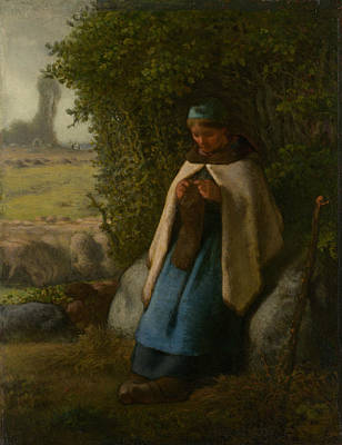 Painting - Shepherdess Seated On A Rock by Jean-Francois Millet