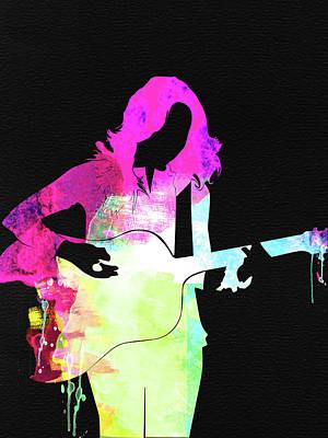 Crow Wall Art - Mixed Media - Sheryl Crow Watercolor by Naxart Studio