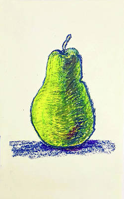 Still Life Drawings - Single Pear by Asha Sudhaker Shenoy
