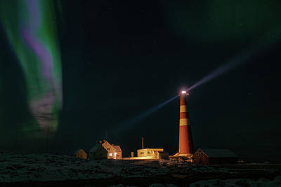 Photograph - Slettnes Lighthouse Under Aurora 1 by Arctic FineArt