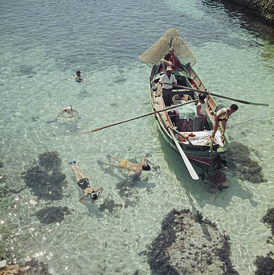 Oar Photograph - Snorkelling In The Shallows by Slim Aarons
