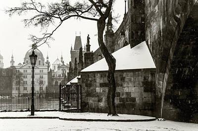 Photograph - Snowy Prague. Under Charles Bridge Monochrome by Jenny Rainbow