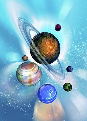 Digital Art - Solar System, Artwork by Victor Habbick Visions