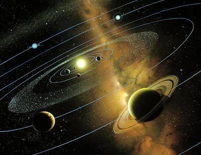 Digital Art - Solar System Orbits, Artwork by Detlev Van Ravenswaay
