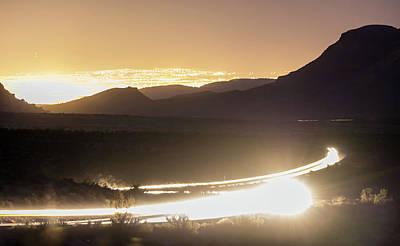 Photograph - Southwest Landscape Red Rock Hills Downtown Las Vegas At Night by Alex Grichenko