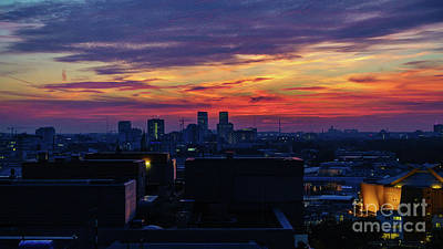 Popstar And Musician Paintings Royalty Free Images - Spectacular sunset over Berlin Royalty-Free Image by Jannis Werner
