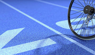 Athletes Royalty-Free and Rights-Managed Images - Sports Wheelchair On Athletics Track by Allan Swart