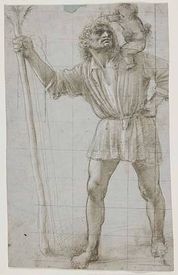 Drawing - St Christopher With The Infant Jesus by Donato Bramante