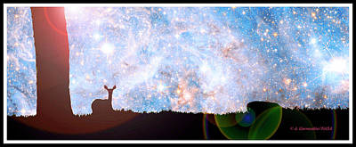 Impressionist Landscapes - Starry Night, Deer Silhouttes by A Macarthur Gurmankin