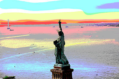 City Sunset Mixed Media - Statue Of Liberty by Charles Shoup