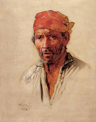 Painting - Study Of Caipira's Head by Almeida Junior
