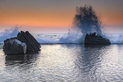Photograph - Sunrise Seascape And Rock Ledge Splash by Merrillie Redden