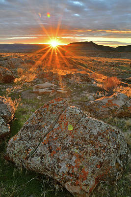 Photograph - Sunset Light On Book Cliff Boulders by Ray Mathis
