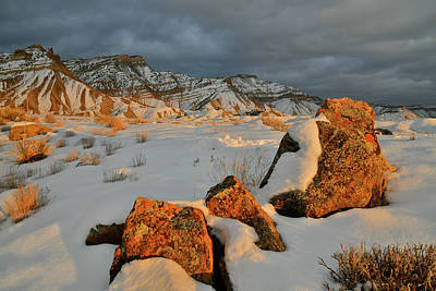 Photograph - Sunset On Snow Covered Book Cliffs by Ray Mathis