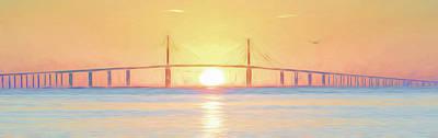 Photograph - Sunshine Skyway Bridge Sunrise by Steven Sparks