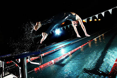 Photograph - Swimmer Jumping From Starting Platform by Stanislaw Pytel