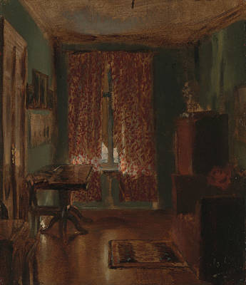 Painting - The Artist's Sitting Room In Ritterstrasse by Adolph Menzel