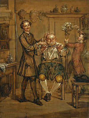 Painting - The Barber by Marcellus Laroon the Younger