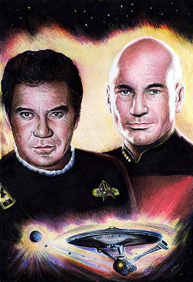 Science Fiction Drawings - The Captains by Andrew Read