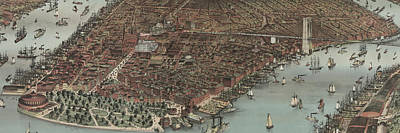 Painting - The City Of New York , 1883  Lower Manhattan by Currier And Ives