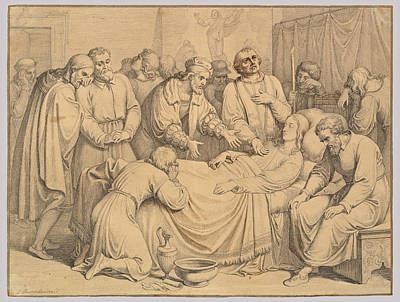 Drawing - The Death Of Raphael by Johannes Riepenhausen